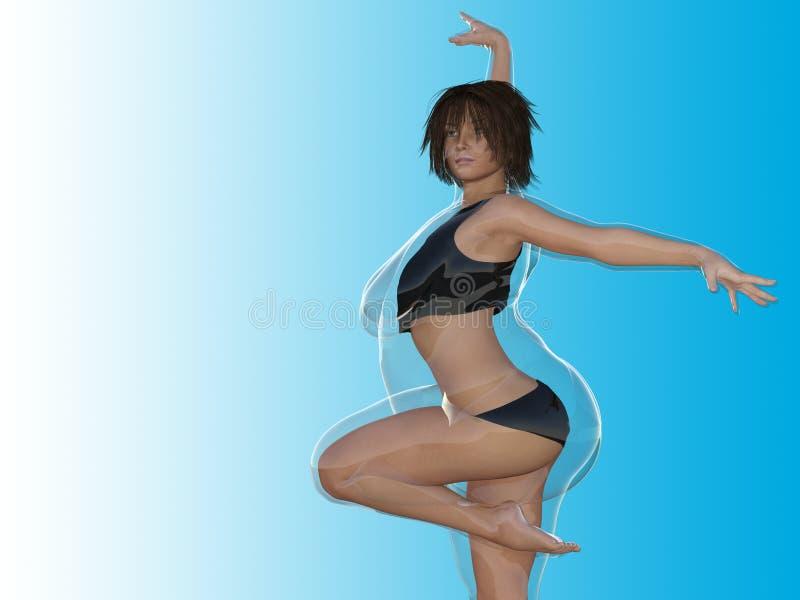 Überladene beleibte Frau gegen gesunden Körper des dünnen Sitzes stock abbildung