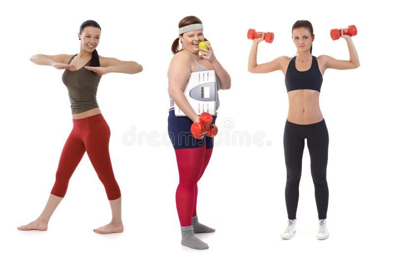 Überladene Frau auf der Diät, die Eignungsübung tut stockfotografie