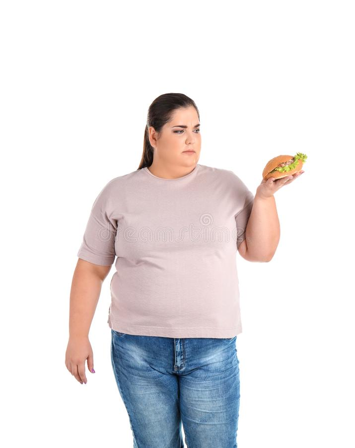 Überladene Frau mit Hamburger stockfoto