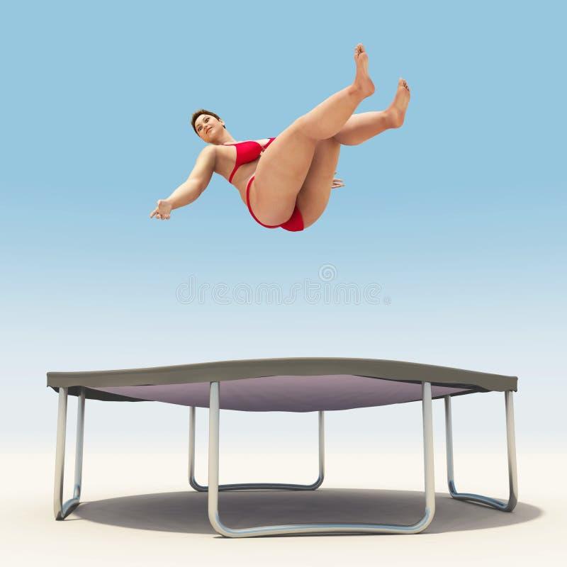 Überladene Frau springen auf Trampoline lizenzfreie stockfotografie