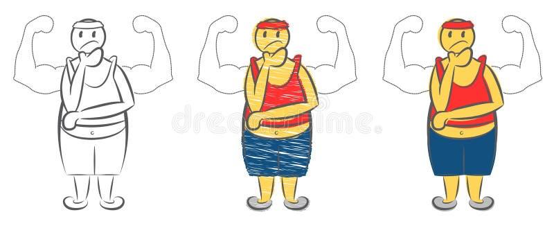 Überladener Mann, der über muskulösen Körper träumt Sch?ner Frauenbauch ?ber Wei? Charakter täuschen vor, starker Mann zu sein Ju stock abbildung