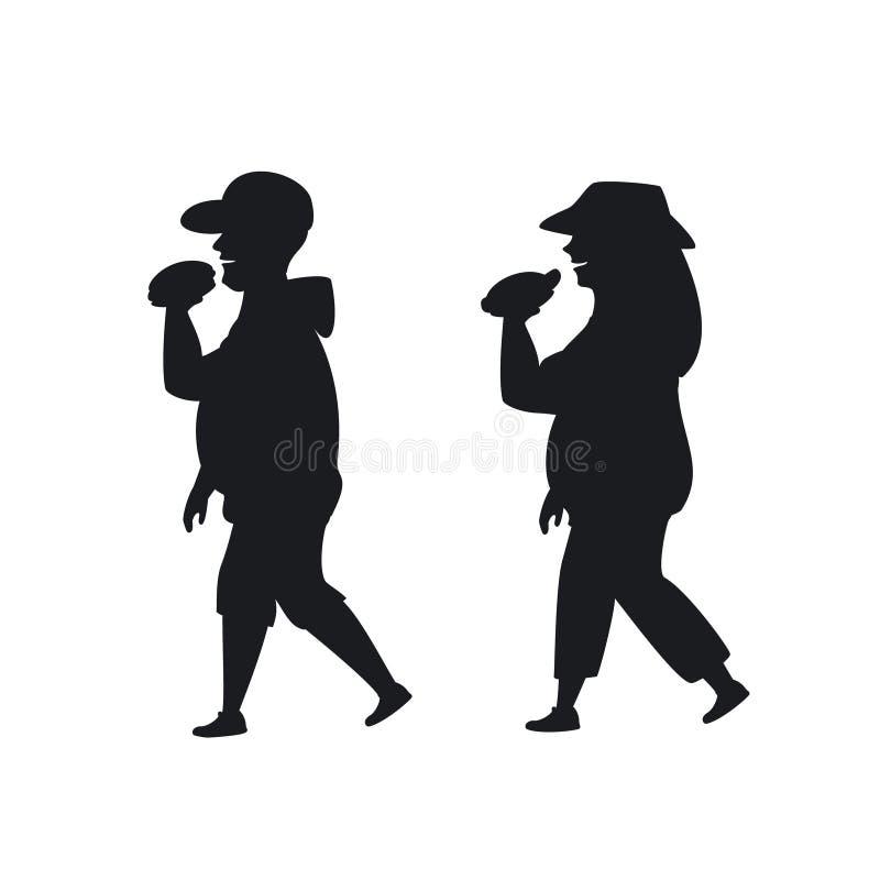 Überladener Mann und Frau, die Schattenbild des Schnellimbisses auf dem Weg essend geht vektor abbildung
