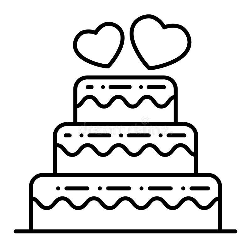 Überlagerte Hochzeitstorte zeichnen dünn Ikone Hochzeitstortevektorillustration lokalisiert auf Weiß Abgestufte Kuchenentwurfsart vektor abbildung