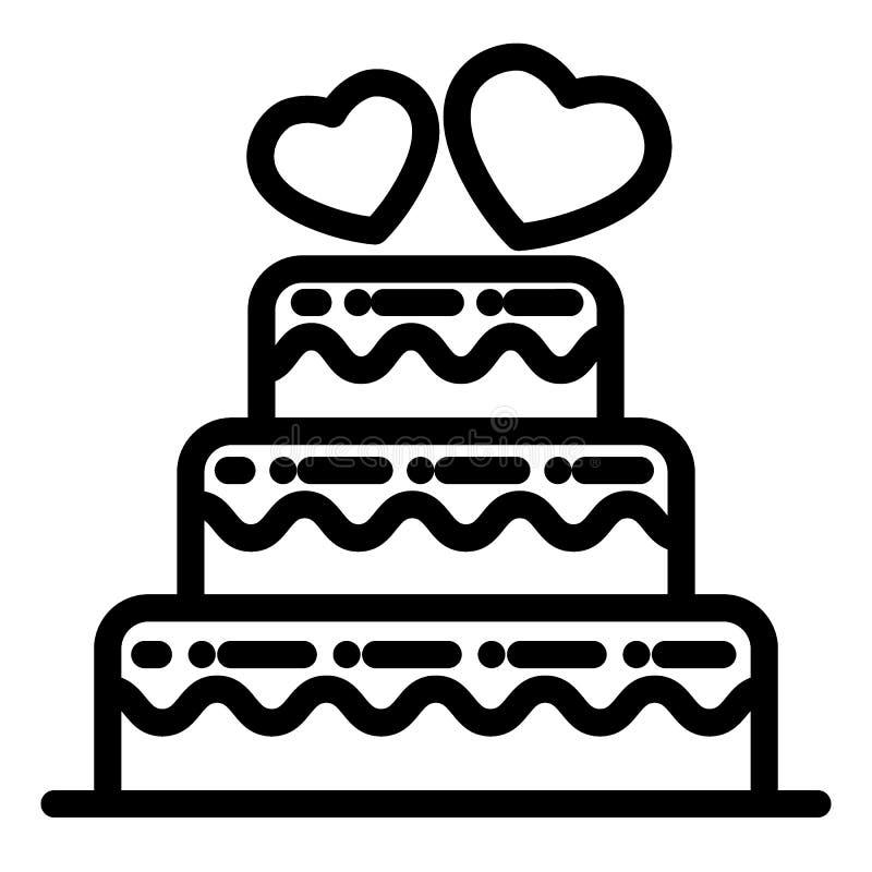 Überlagerte Hochzeitstortelinie Ikone Hochzeitstortevektorillustration lokalisiert auf Weiß Abgestuftes Kuchenentwurfs-Artdesign vektor abbildung