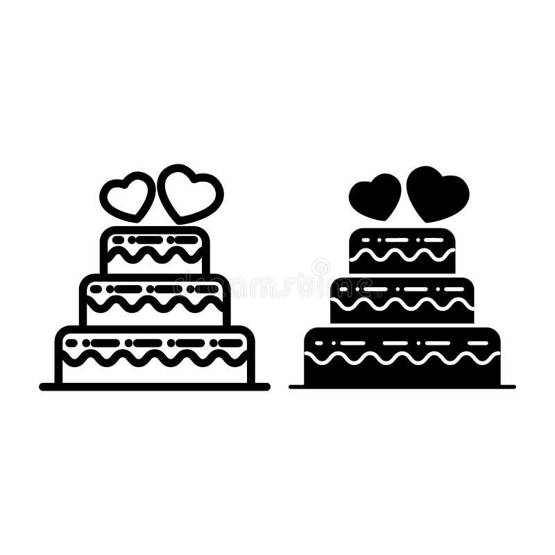 Überlagerte Hochzeitstortelinie und Glyphikone Hochzeitstortevektorillustration lokalisiert auf Weiß Abgestufte Kuchenentwurfsart stock abbildung