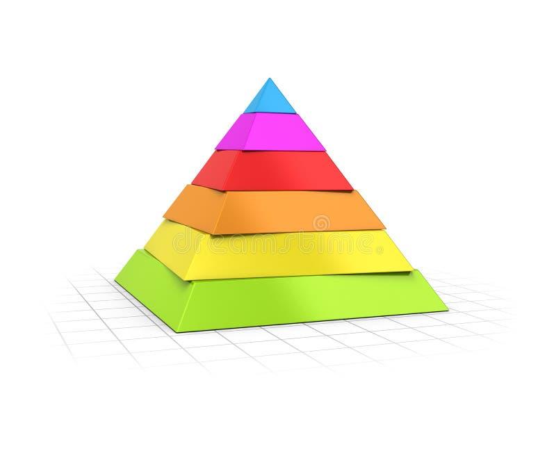 Überlagerte Niveaus der Pyramiden-sechs lizenzfreie abbildung