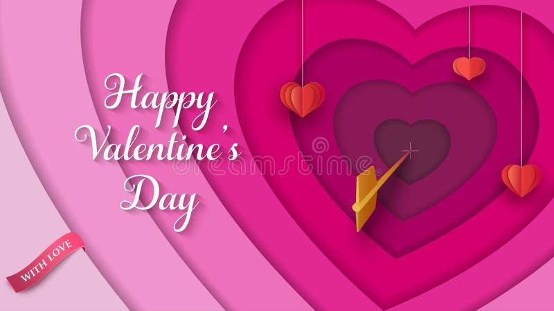 Überlagerter 3D bunter Hintergrund mit hängenden roten Papierherzen, goldener Pfeil, rosa Band Valentinsgruß ` s Tageshintergrund lizenzfreie abbildung