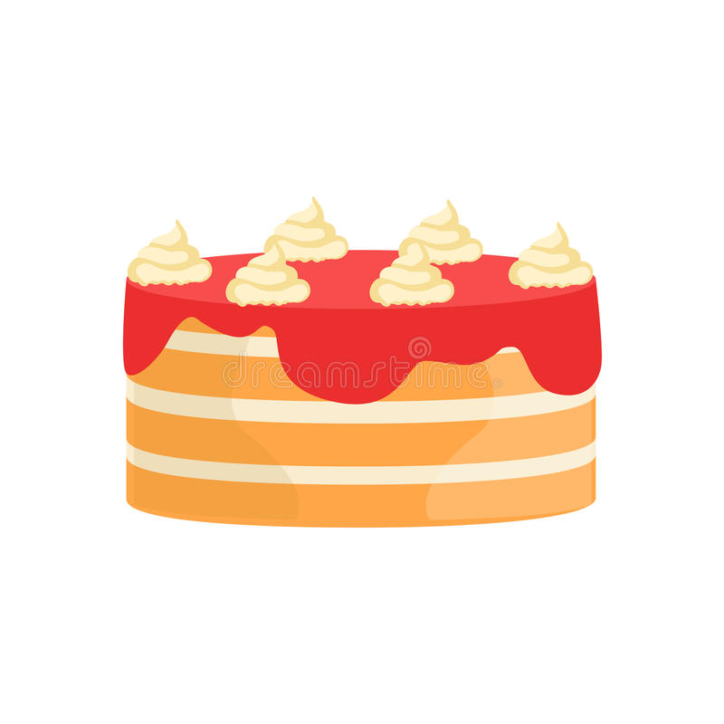 Überlagerter Kuchen mit Erbeersirup verzierte großen spezielle Gelegenheits-Partei-Nachtisch für die Heirat oder Geburtstags-Feie stock abbildung