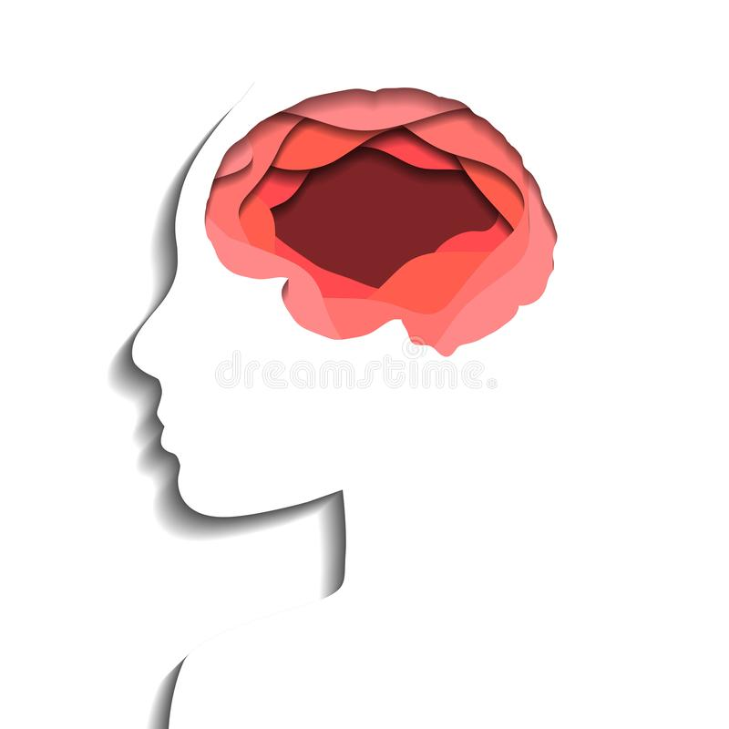Überlagertes menschliches Profil und Gehirn herausgeschnitten vom Papier auf weißem Hintergrund Papierschnittorigami Meditation u stock abbildung