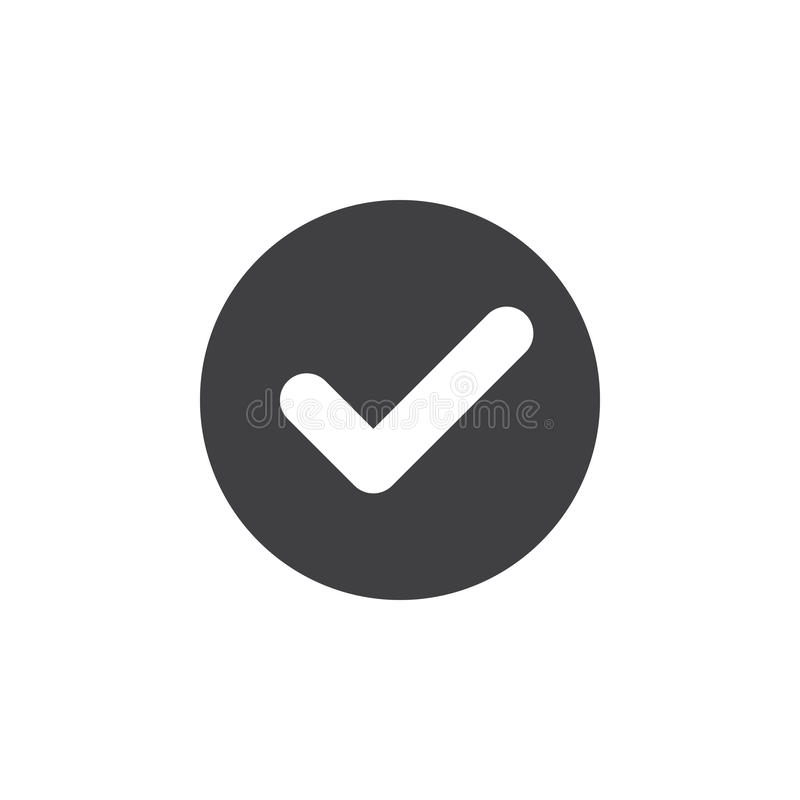 Überprüfen Sie, flache Ikone des Prüfzeichens Runder einfacher Knopf, Kreisvektorzeichen lizenzfreie stockbilder
