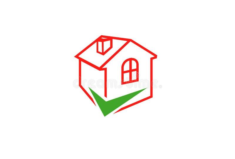 Überprüfen Sie Haupt-Logo Design stock abbildung