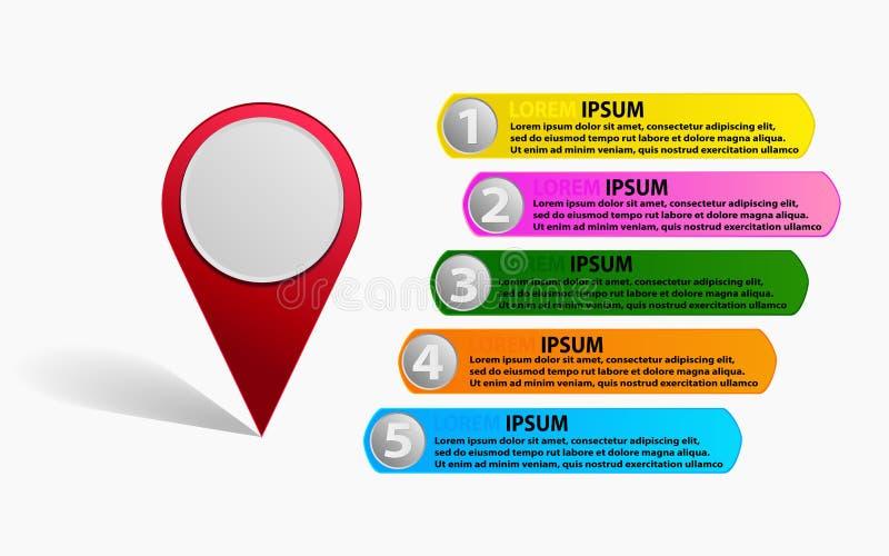 Überprüfen Sie herein Punktstandort mit Diagramm infographics, der conc Standort lizenzfreie abbildung
