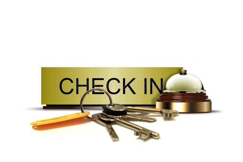 Überprüfen Sie herein Zeichen mit Notklingel und Schlüsselbund lizenzfreie stockbilder