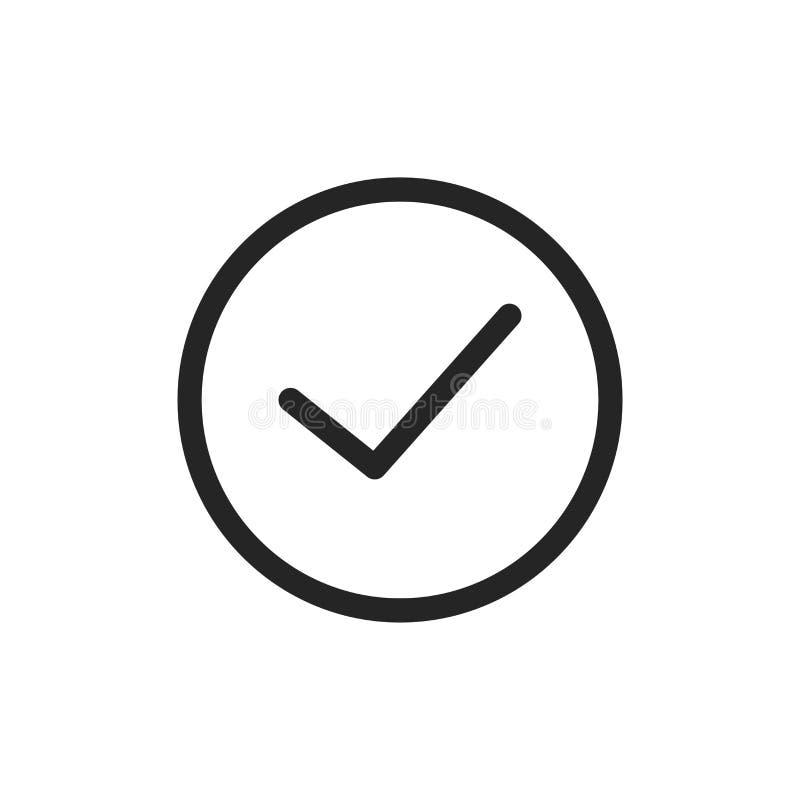 Überprüfen Sie Ikone Prüfzeichensymbol lokalisiert auf weißem Hintergrund Modernes, einfaches Zeichen für Grafik und Webdesign lizenzfreie abbildung