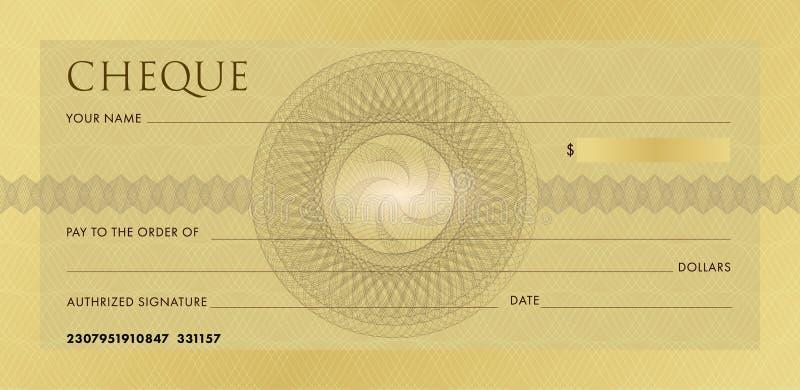 Überprüfen Sie Schablone, Scheckheftschablone Leerer Goldgeschäfts-Bankscheck mit Guillochemusterrosette und -zusammenfassung lizenzfreie abbildung