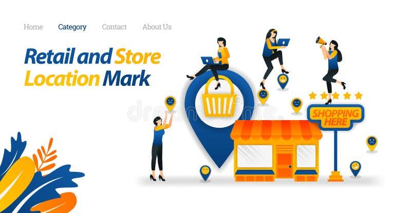 Überprüfen Sie Standort des nächsten Speichers oder des Marktes, der tägliche Notwendigkeiten liefert Vektor-Illustration, flache stock abbildung