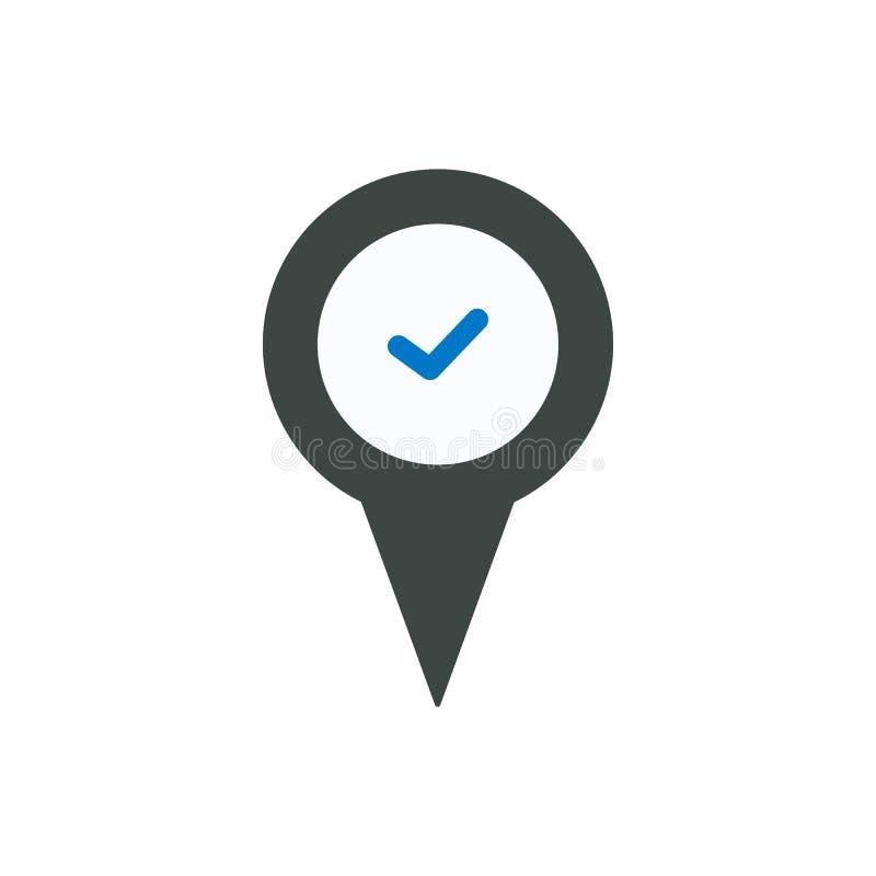 Überprüfen Sie Standortmarkierungsstiftplatzrecht-Zeckenikone stock abbildung
