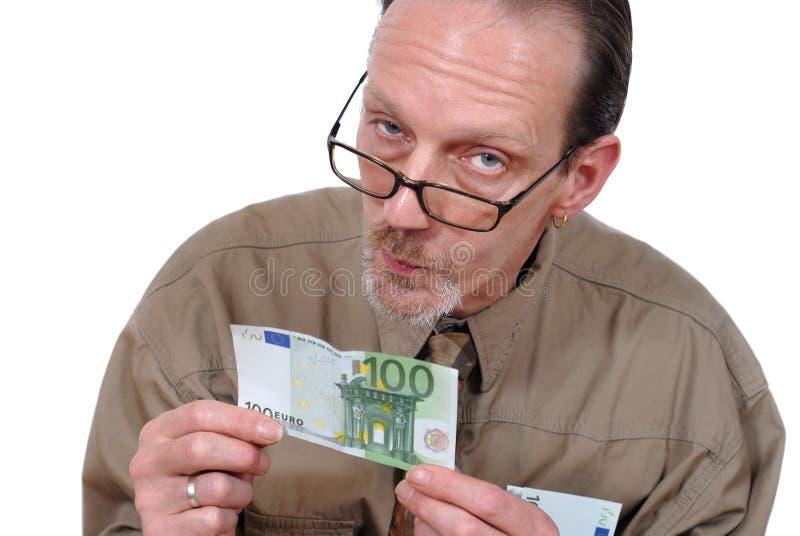 Überprüfende Eurobanknote lizenzfreies stockbild