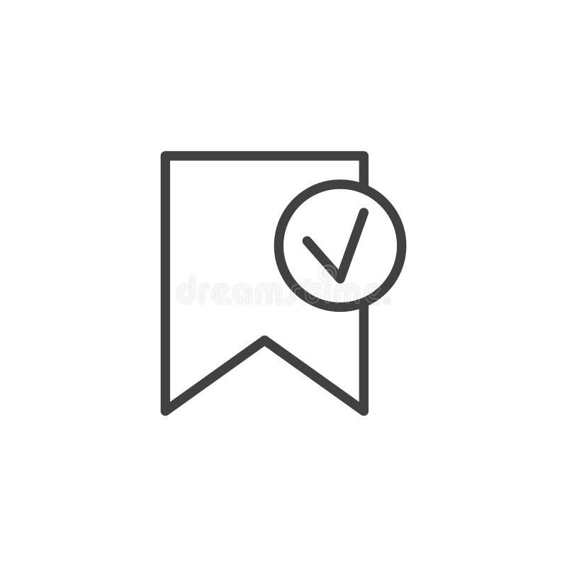 Überprüfte Bookmarkentwurfsikone vektor abbildung