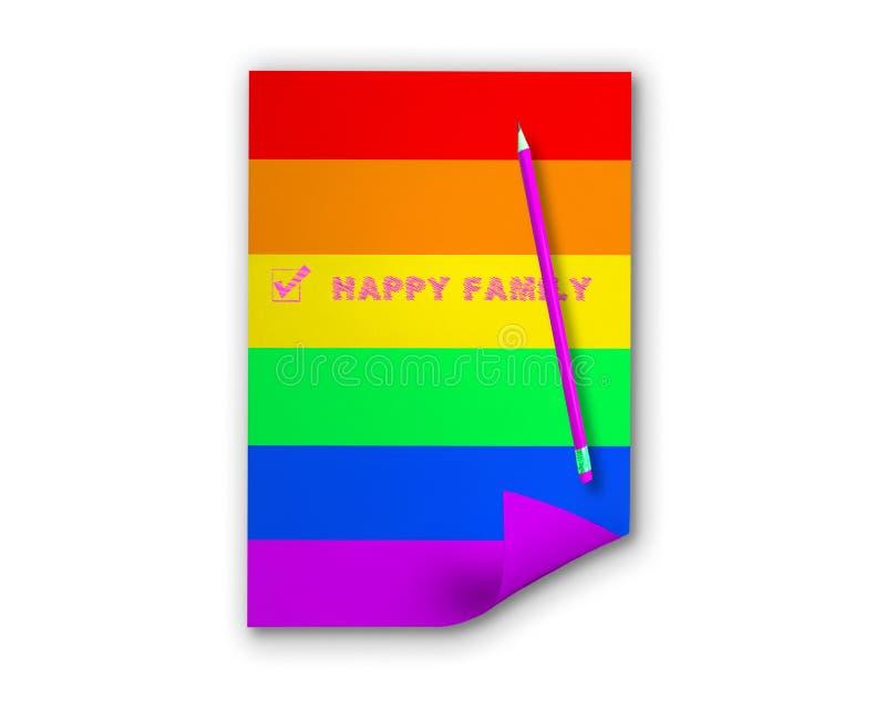 Überprüfter Kasten mit Aufschrift glücklicher Familie und purpurroter Markierung auf Papier mit Regenbogenfarben stockbild