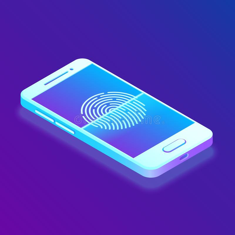 Überprüfungsfingerabdruck auf Smartphone Setzen Sie Handy frei Biometriesicherheit Touch Screen Smartphone mit einer Zone, zum de vektor abbildung