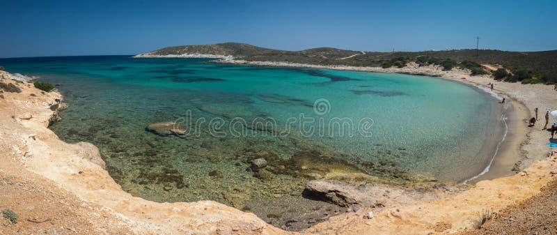 Überraschende Bucht und Strand auf Antiparos-Insel in den Kykladen, Griechenland lizenzfreie stockfotografie