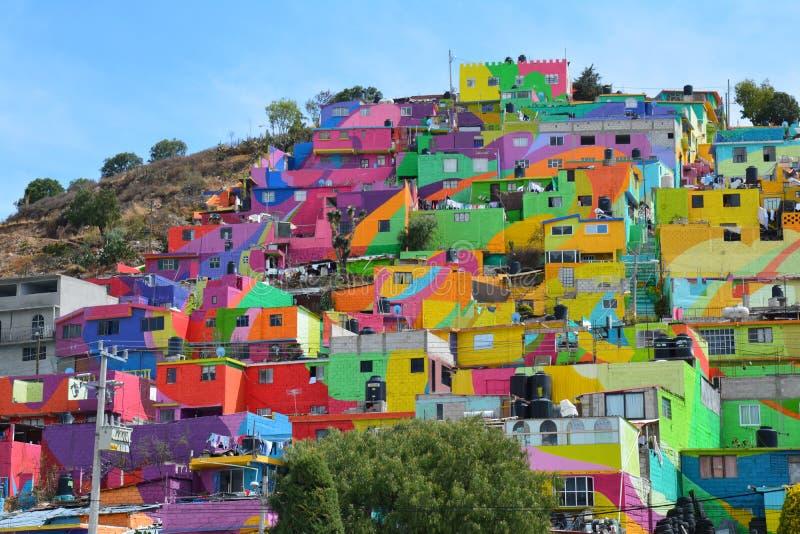 Überraschende bunte Häuser Pachuca Mexiko lizenzfreies stockbild