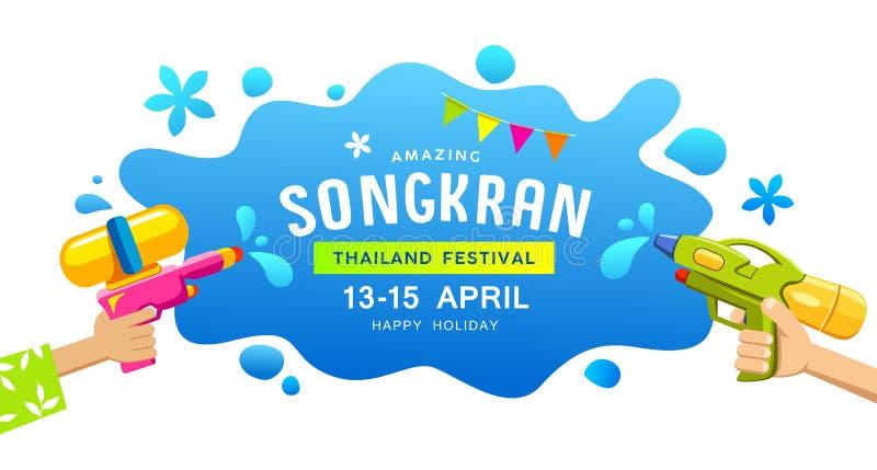 Überraschende glückliche des Festivalgewehrs Songkran Thailand Wasser-Spritzenfahnen in der Hand vektor abbildung