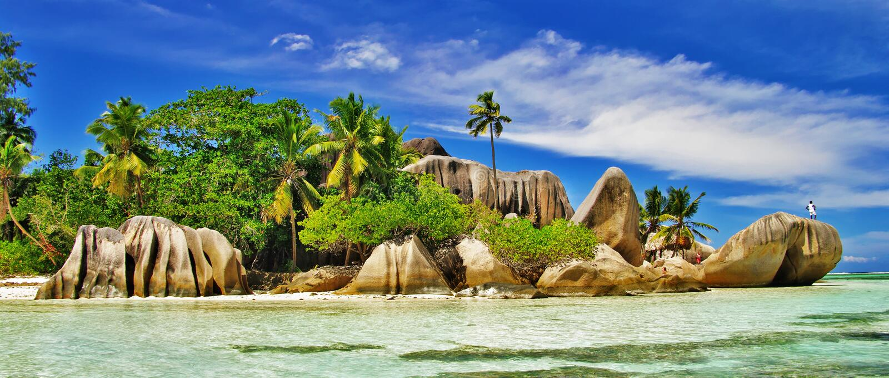 Überraschende Seychellen, La digue lizenzfreie stockbilder