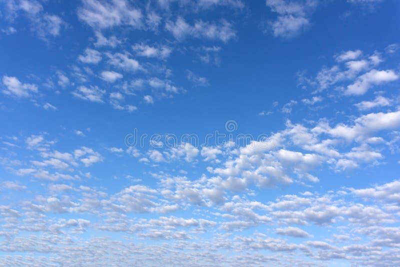 Überraschende weiße Wolken der ungewöhnlichen Form auf Hintergrund des blauen Himmels lizenzfreie stockbilder