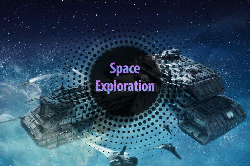 Überraschendes Raumschiff in einer bunten Nebelfleck-Galaxie im Weltraum mit einem abstrakten modernen Rahmen auf die Oberseite stockfotos