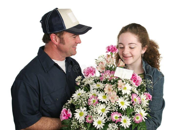 Überrascht durch Flowers lizenzfreies stockfoto