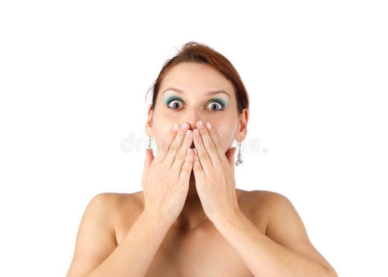 Überrascht nichts sprechen Sie junge Frau lizenzfreie stockbilder