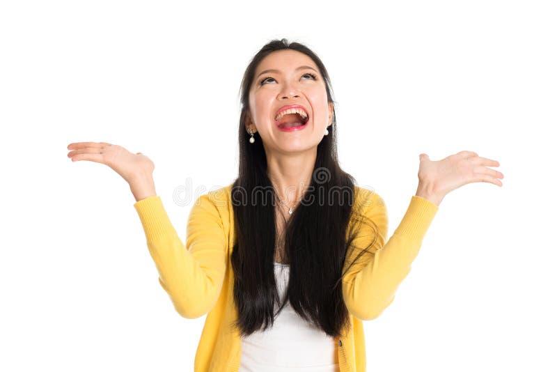 Überraschte asiatische Frau lizenzfreies stockfoto