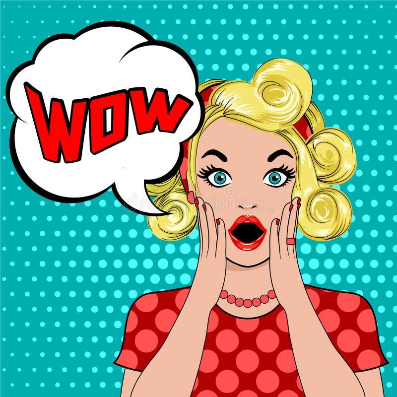 Überraschte blonde Frau wow-Blase Pop-Art stockbilder