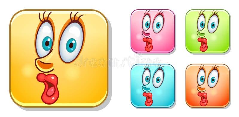 Überraschte Emoticonssammlung stock abbildung