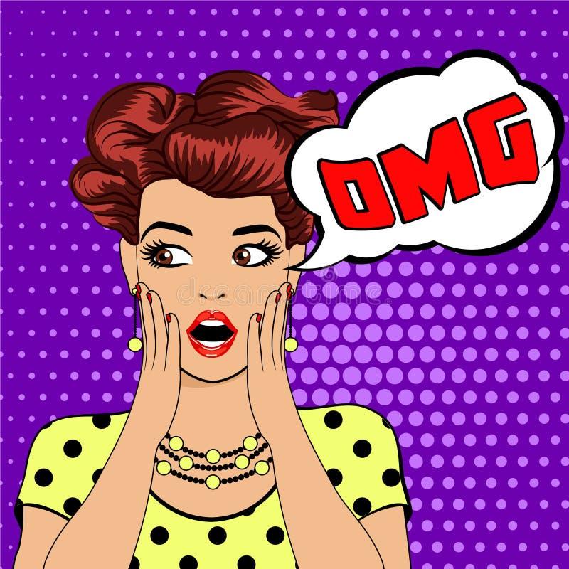 Überraschte Frau OMG-Blase Pop-Art lizenzfreie stockfotografie