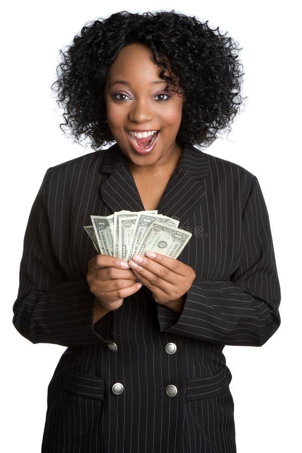 Überraschte Geld-Frau lizenzfreie stockfotos