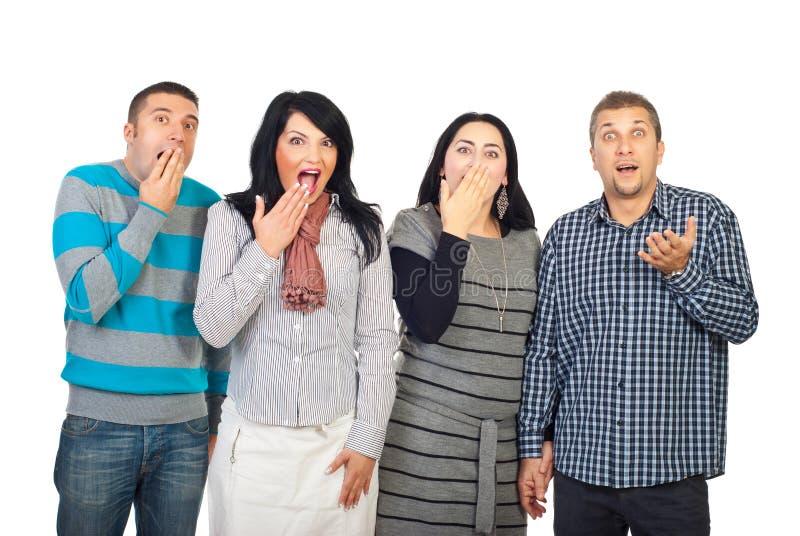 Überraschte Gruppe von Personen in einer Zeile lizenzfreies stockfoto