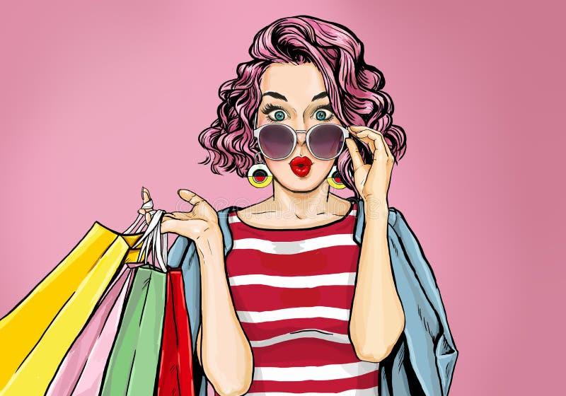 Überraschte junge sexy Frau in den Gläsern mit Einkaufstaschen in der komischen Art lizenzfreie abbildung