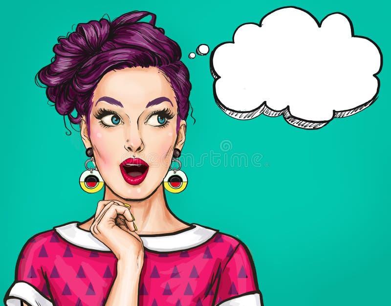 Überraschte junge sexy Frau mit offenem Mund Komische Frau Überraschte Frauen Pop-Arten-Mädchen lizenzfreie abbildung