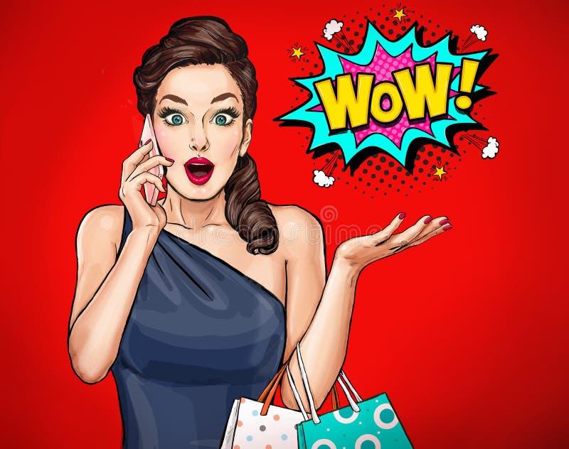 Überraschte junge sexy Frau mit offenem Mund Wow-Frau lizenzfreie abbildung
