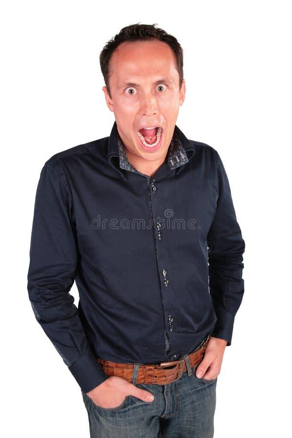 Überraschte Person mit weit geöffnetem Mund stockfoto