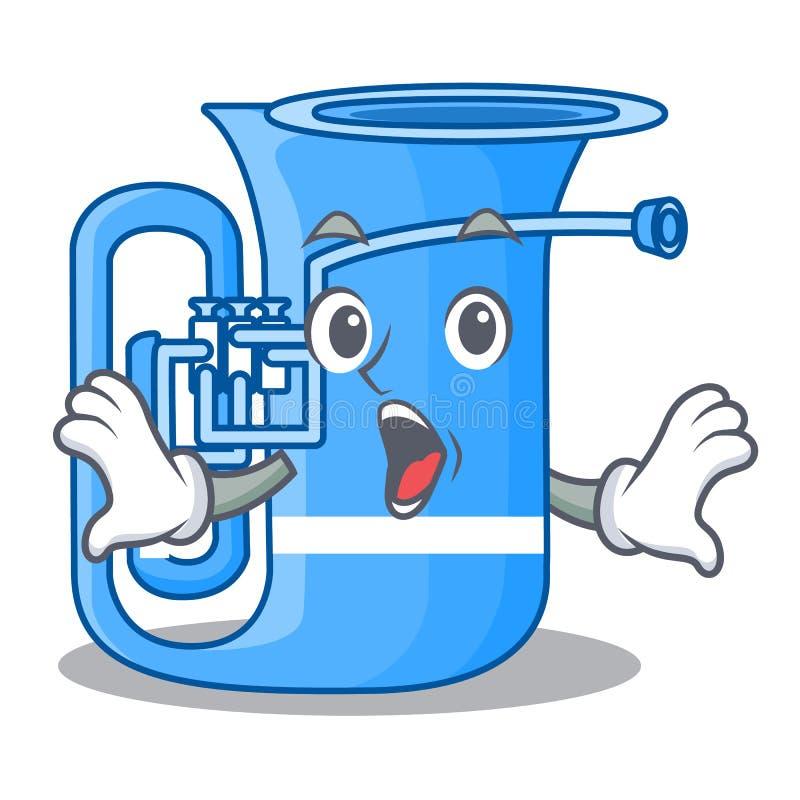 Überraschte Tuba in der lustigen Karikatur der Form vektor abbildung