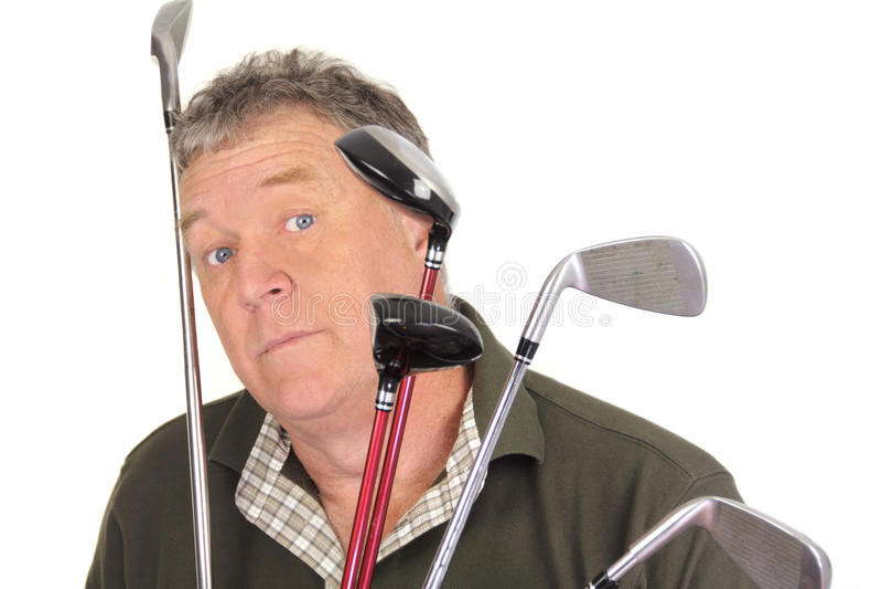 Überraschter Golfspieler stockfotos