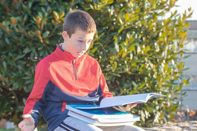 Überraschter Jugendlicher mit Lehrbüchern und Notizbüchern stockbilder