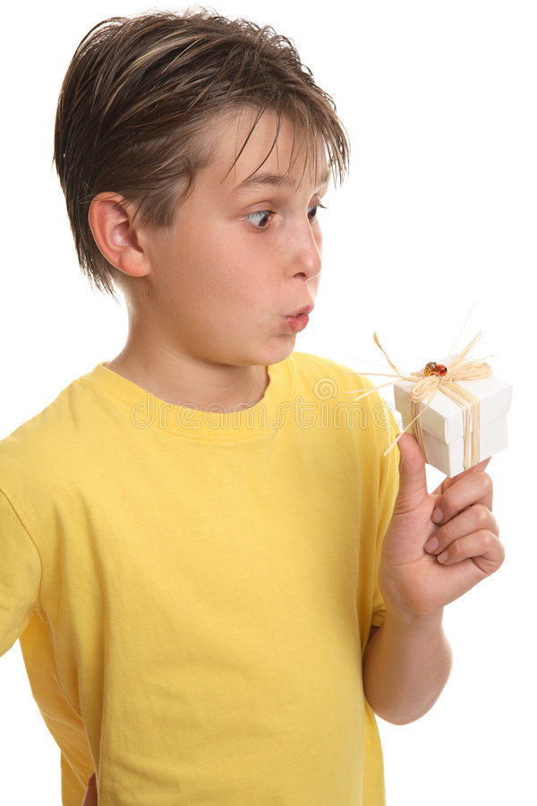 Überraschter Junge mit Geschenk stockbilder