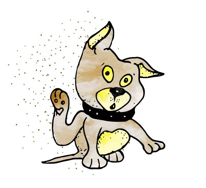 Überraschter netter Hund der Karikatur auf dem weißen Hintergrund stock abbildung
