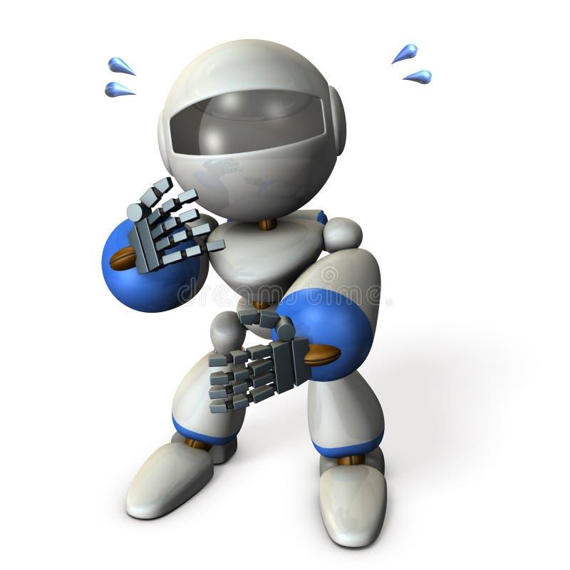 Überraschter, netter Roboter, um zu beeindrucken Er betrachtet oben mir lizenzfreie abbildung