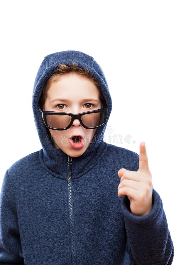 Überraschter oder überraschter Jugendlichjunge stockbilder